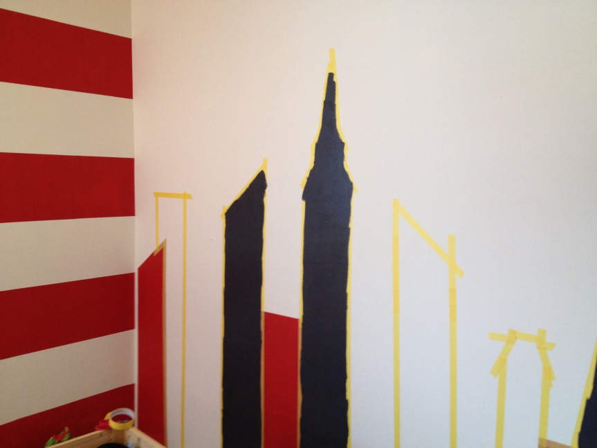 painting skyline on wall