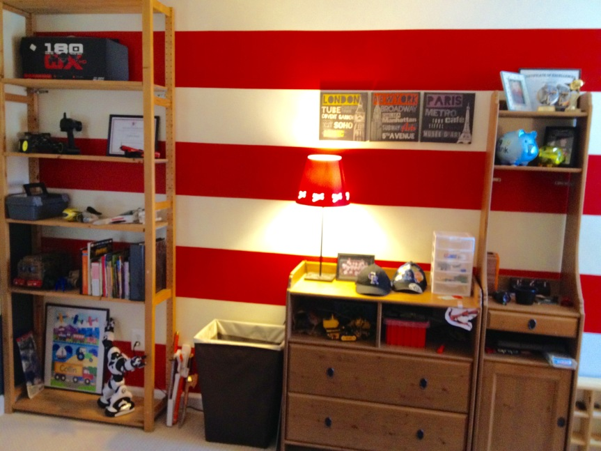 Stripes on room wall