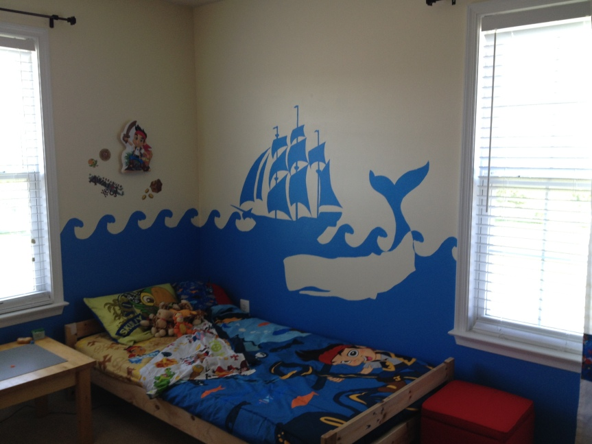 Overbed mural and wave pattern