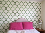 green stencil guest wall